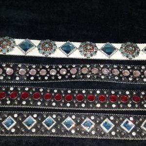 4 WB Atlas Leather & Rhinestone Studded Belts
